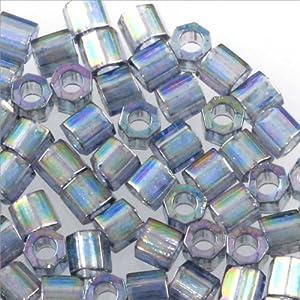 Miyuki Delica Seed Bead Hex Cut 8/0 Transparent Glazed Light Blue AB (9 Grams)
