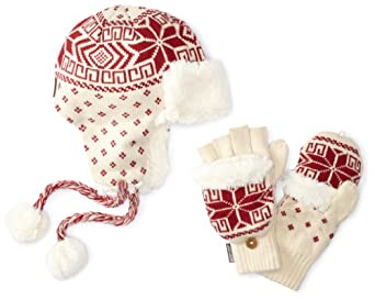 Muk Luks Women's Trapper Hat and Flip Glove Set, Red, One Size