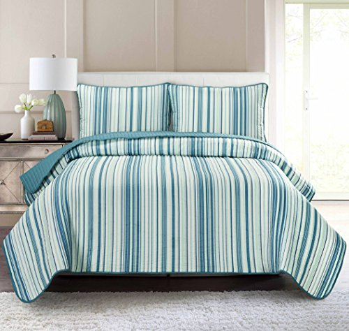 Pur Luxe Stripe Quilt Set, Twin, Striped, Teal with Aqua (Twin Teal Quilt compare prices)