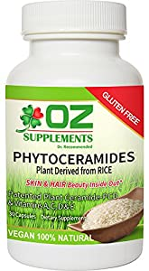 PHYTOCERAMIDES 350mg RICE PLANT DERIVED dr oz best vitamins GLUTEN FREE #1 CERAMIDE Supplements SMOOTH FINE LINES WRINKLES CROWS FEET CLINIC PATENTED REVIEWS SUPERIOR To Lipowheat/SweetPotato FAKE A FACELIFT/BOTOX ANTIAGING MIRACLE Skin Hair Nails Pills SAFE NO SIDE EFFECTS Restores Collagen 100% NATURAL CAPSULES Clear YOUTHFUL DEWY GLOW Hydrate MOISTURE No Dry Red Flaky Itchy SUN DAMAGE Rejuvenate LIFTS DARK CIRCLES Vitamin A C D E 30day 100% Money Back Guarantee LOOK 10 YEARS YOUNGER BUY NOW!