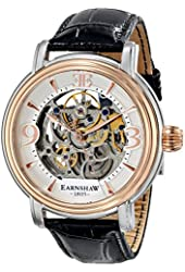 Thomas Earnshaw Men's ES-8011-06 Longcase Two-Tone Stainless Steel Automatic Watch with Black Leather Band