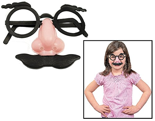 "Child Nose, Eyebrows and Mustache Glasses (12 Pack) 3 1/2"". Plastic."