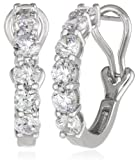 Sterling Silver Swarovski Zirconia Partway Hoop Earrings