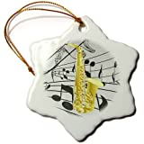 3dRose orn_38198_1 Gold Sax on Music Notes Snowflake Decorative Hanging Ornament, Porcelain, 3-Inch