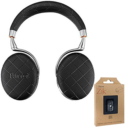Parrot Zik 3 Wireless Noise Cancelling Bluetooth Headphones (Black Overstitched) with Parrot Interchangable Battery for Zik 2 and Zik 3