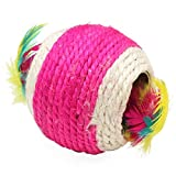Pet Cat Kitten Teaser Playing Chew Rattling Sound Cute Toys Feather Sisal Rope Ball Random Color-pack of 3