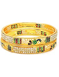 ESHOPITUDE MULTI-COLOR MEENAKARI CZ AMERICAN DIAMOND GOLD PLATED PEACOCK BANGLES SET FOR WOMEN SIZE 2.4