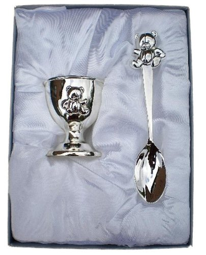 NEW Silver Plated Teddy Spoon and Egg Cup - New Baby, Christening Gift for Boy or Girl