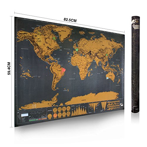 World Map Poster from SHINAP:Ultra Deluxe black Personalized, Colour Coded Scratch Off, Wall Hanging, Desk Placement and Personalized Journey Logging Travel Map for Frame, Begin Memorializing & Displaying The Countries, Islands and Cities You Visit Today!