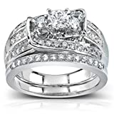 1 1/10ct TW Three Stone Round Diamond Bridal Set in 14k White Gold - Size 10