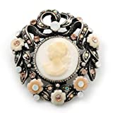 Classy Round Cameo Brooch In Burn Silver Tone - 37mm Across
