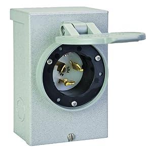 reliance controls pb50 50 amp generator power cord inlet box for up to 12 500 watt generators