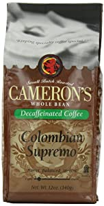 Cameron's Colombian Decaf Whole Bean Coffee, 12-Ounce Bags (Pack of 3)