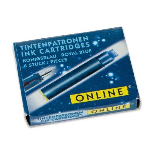 Online 17029 Lot de 9 cartouches d'encre pour stylo-plume Bleu