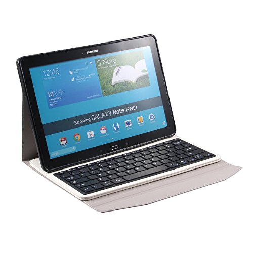 Newstyle Samsung Galaxy Tab Pro 12.2 Inch & Samsung Galaxy Note Pro 12.2 Inch Tablet Portfolio Case With Wireless Removable Bluetooth Abs Hard Keys Keyboard For Galaxy Tabpro 12.2 & Galaxy Notepro 12.2 P900 - White Color