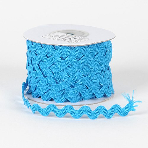 Lowest Prices! Turquoise Ric Rac Trim 10mm - 25 Yards