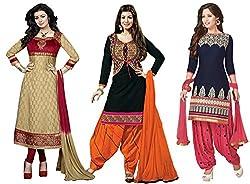 DivyaEmporio Women's Faux Crepe Salwar Suit Dress Material Combo of 3 Suits