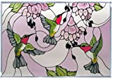 Contemporary Hummingbird Fuchsia Horizontal Art Glass Panel 14 x 20