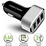 FosPower® (33W / 6.6A Output) 3-Port Rapid USB Car Charger Adapter - [2.4A Max] Full Speed Charging for iPhone, iPad Air Mini, Samsung Galaxy, Google Nexus, HTC, Motorola, Nokia, Sony, Blackberry, Android Smartphones & Tablets, Camera, Bluetooth Headset, MP3, Gaming Devices and More (Black & Silver)
