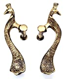 Two Moustaches Brass Peacock Door Handle Pair 8 inches