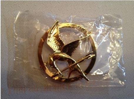 Licensed Hunger Games Movie Mockingjay Katniss Goldtone Pin - 1