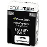 PhotoMate NP-FW50 FW50 Ultra High Capacity Rechargeable Battery Pack (1500mAh) For Sony Alpha A7 A7 II A7r A7s...