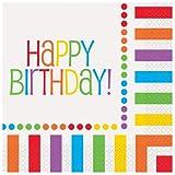 Unique Rainbow Birthday Luncheon Napkins (16 Count), Multicolor