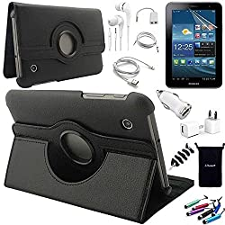 AceNear Accessory Bundle For LG G PAD 7.0 V400 7 inch Tablet - New 360 Degress Rotating Stand Leather Folio Case Cover , Headset Dust Plug Capacitive Stylus, Screen Protector, USB Cable, Charger, Earphone, bag, Car Charger Adapter - black