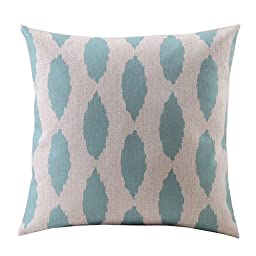 Create For-Life Cotton Linen Decorative Pillowcase Throw Pillow Cushion Cover Light Green Leaves Square 18\