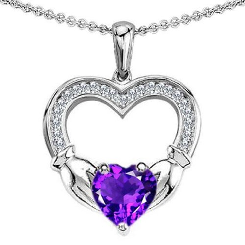 CANDYGEM 14k White Gold Plated 925 Sterling Silver Hands Holding Heart Celtic Love 1inch. Claddagh Pendant with a Large 2 cts. Genuine Amethyst. Free 18inch Gold Plated Silver Chain. Free High End Gift Box.