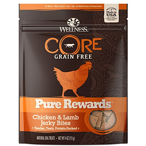 Wellness CORE Pure Rewards Natural Grain Free Dog Treats, Soft Chicken & Lamb Jerky Bites, 4-Ounce Bag (Wellness Chicken And Lamb Treats compare prices)