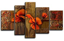 Wieco Art - Composition of Three Poppies Modern 5 Panels 100% Hand Painted Stretched and Framed Floral Oil Paintings on Canvas Wall Art Ready to Hang for Living Room Bedroom Home Decorations