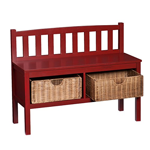 Red Foyer Bench : Bench w storage baskets red furniture benches entryway