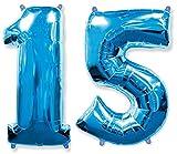 Globo número 15 para fiestas de cumpleaños y aniversarios de boda, medida 100 cm, inflándolo con HELIO flotará durante 5/6 días. (AZUL)