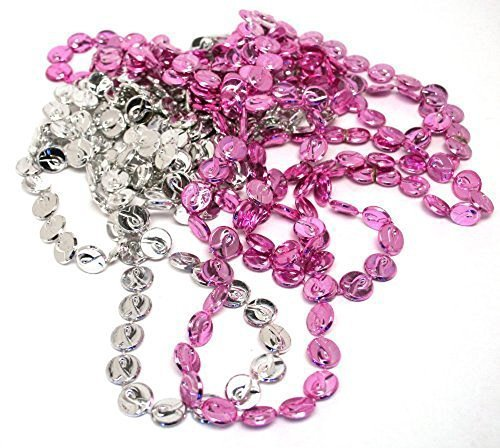 Pink Ribbon Coin Bead Necklaces (1 dozen) - Bulk [Toy] - 1