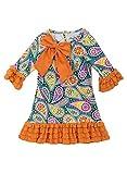 Rare Editions Little Girls' Teal Orange Bow Paisley Print Knit Dress