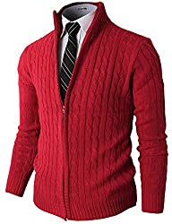 H2H Mens Slim Fit Full-zip Kintted Cardigan Sweaters with Twist Patterned RED US S/Asia M (KMOCAL032)