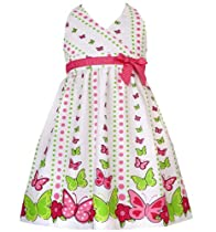 Size-6X RRE-46942S, Pink and Green Butterfly Border Print Halter Dress, Rare Editions Girls, S746942