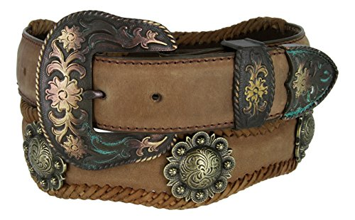 Mens Brass Classic Berry Concho Scalloped Genuine Leather Belt(Brown,50)