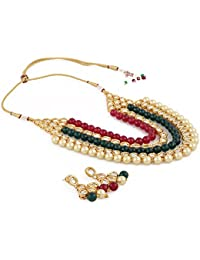 Aradhya Stylish Five Layer Kundan And Shining Beige Pearl Necklace Set With Earrings For Women And Girls