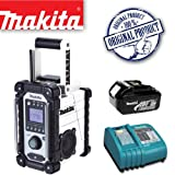 MAKITA BMR102W Jobsite Radio - White Plus BL1830 18.0V 3.0Ah Lithium-ion Battery Plus DC18RA 14.4-18V Lithium-ion Battery Charger 240V