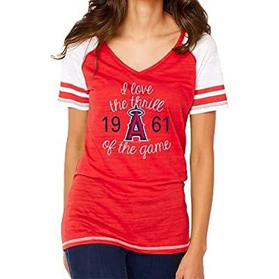 MLB Los Angeles Angels Women's Color Block Tee, Medium, Red