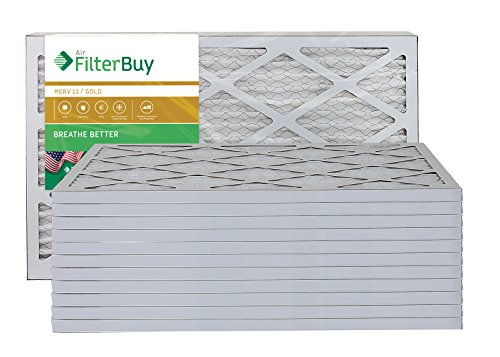 AFB Gold MERV 11 16x22x1 Pleated AC Furnace Air Filter. Pack of 12 Filters. 100% produced in the USA.