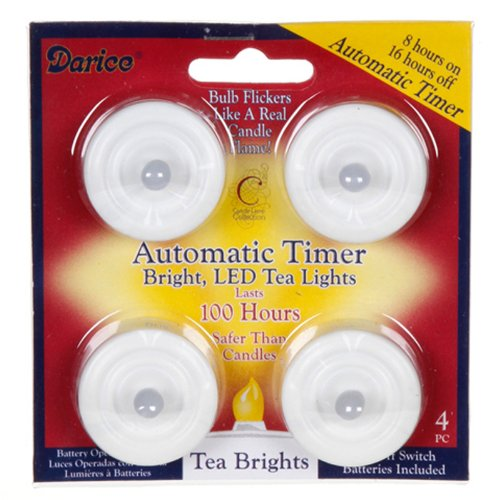 Led Tea Lights With Automatic Timer - Lasts 100 Hours - 4 Pieces