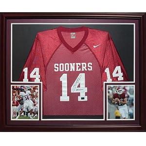 Sam Bradford Autographed Oklahoma Sooners (Maroon #18) Deluxe Framed Jersey by PalmBeachAutographs.com