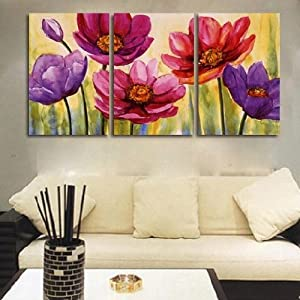 3 Piece Hand Painted Art Canvas Set Modern Abstract Oil Painting on Canvas Wall Art Deco Home Decoration Flower in Bloom 3 Pic/set Stretched Ready to Hang