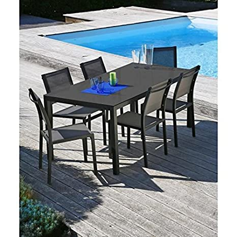 Salon de jardin table 160 + 6 chaises