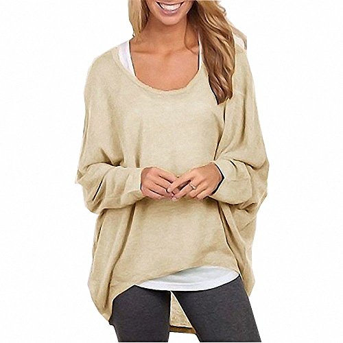 Menglihua Womens Outumn Casual Oversized Loose Baggy Pullover Tunic Shirt Top Blouse Beige L (Boutique Clothing For Women compare prices)