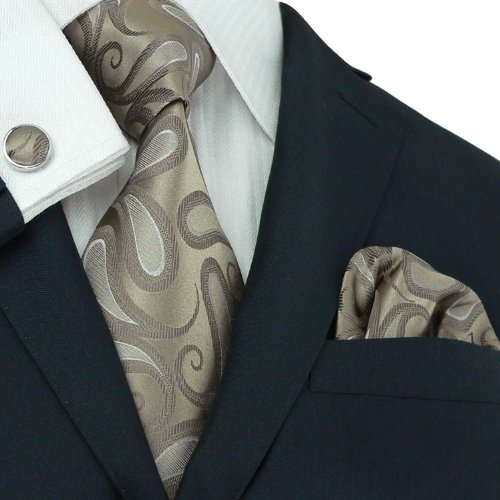 Landisun Paisleys Mens Silk Tie Set: Tie+Hanky+Cufflinks 57H Brown, 3.75