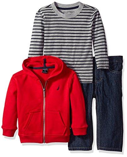 Nautica Boys' Three Piece Fleece Set with Full Zip Hoodie, Long Sleeve Tee and Denim Jean, Red Rouge, 24 Months
